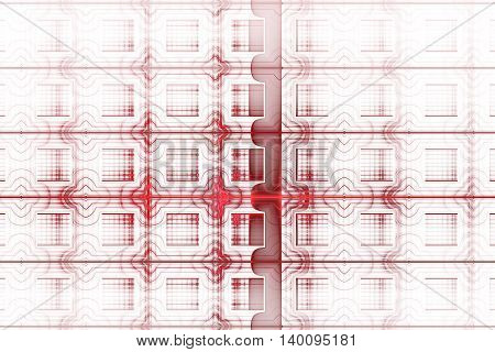 Abstract detailed geometrical ornament on white background. Fantasy red fractal texture. Digital art. 3D rendering.
