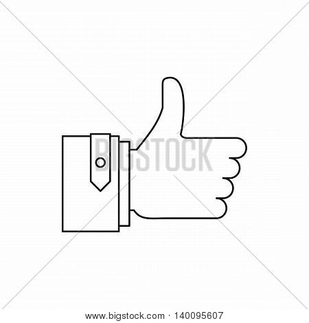 Thumb up gesture icon in outline style on a white background