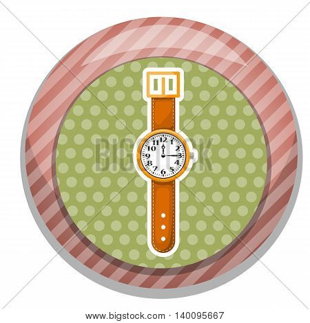 Watch colorful icon in cartoon style, vector eps 10