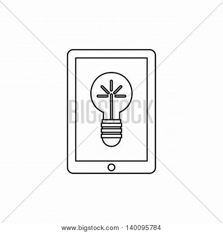 Light bulb on tablet computer screen icon in outline style on a white background