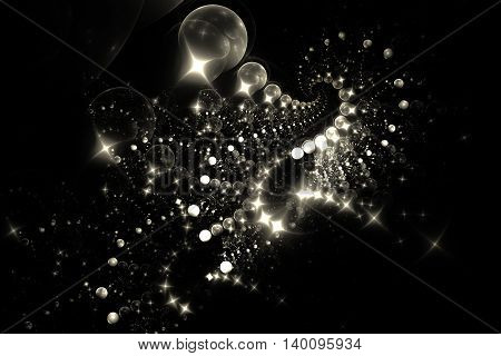 Shooting stars. Abstract glowing sparks on black background. Fantasy monochrome fractal texture for posters postcards or t-shirts. Digital art. 3D rendering.