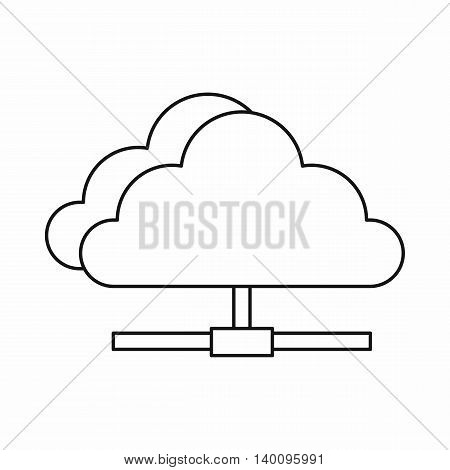 Cloud network connection icon in outline style on a white background