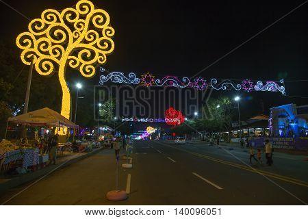 Managua Nicaragua - December 22 2015: Avenida Bolivar view at night with life's trees