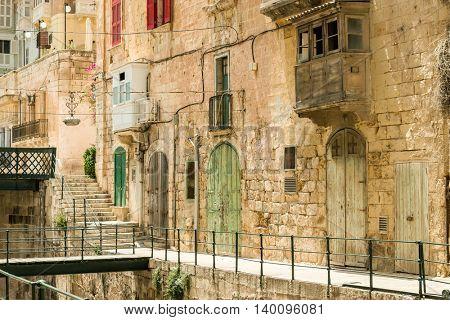 Narrow street in Valletta - the capital of Malta