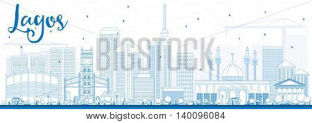 Outline Lagos Skyline with Blue Buildings. Business Travel and Tourism Concept with Modern Buildings. Image for Presentation Banner Placard and Web Site.