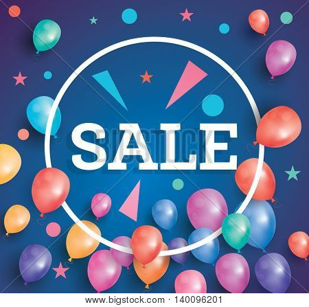 Sale poster on blue background with flying balloons and white circle frame. Sale banner with stars and triangles.