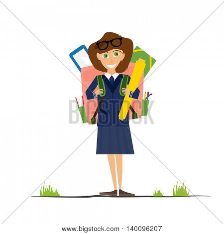 Smiling Young School Girl in Uniform with Pink Backpack. Girl isolated on white background. Back to School Concept.