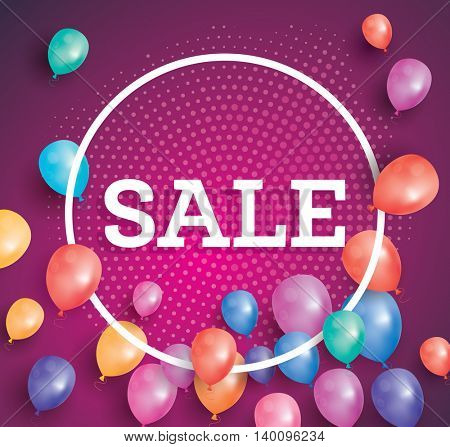 Sale poster on red background with flying balloons and white circle frame. Sale banner with halftone pattern.