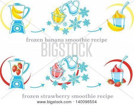 Recipe of milkshake banana and strawberry smoothie with milk and ice cream. Vector illustration.