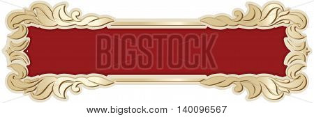 Vector richly decorated ribbon frame in baroque style.