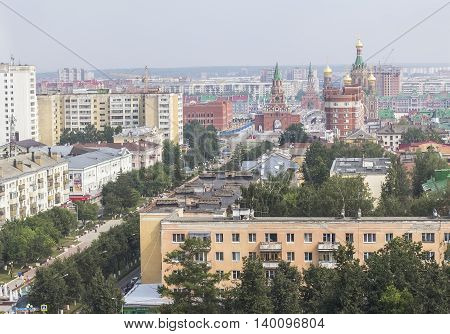 background cityscape panorama view of the city of Yoshkar-Ola capital of the Republic of Mari-El bird's-eye view, Russia