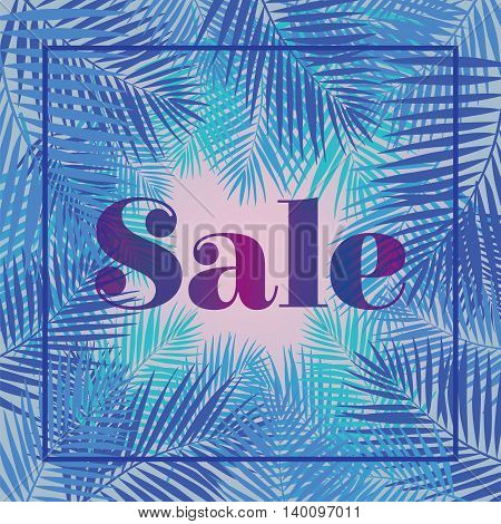 Palm leaf. Sale. Web banner or poster for e-commerce, on-line cosmetics shop, fashion and beauty shop, store. Eps10