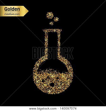 Gold glitter vector icon of beaker isolated on background. Art creative concept illustration for web, glow light confetti, bright sequins, sparkle tinsel, abstract bling, shimmer dust, foil.