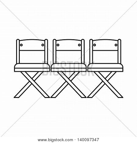 Theater chairs icon in outline style on a white background