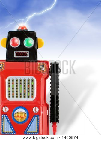 Invading Red Tin Toy Robot!