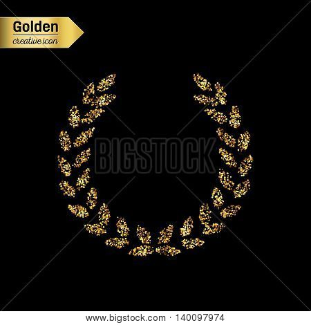 Gold glitter vector icon of laurel wreath isolated on background. Art creative concept illustration for web, glow light confetti, bright sequins, sparkle tinsel, abstract bling, shimmer dust, foil.
