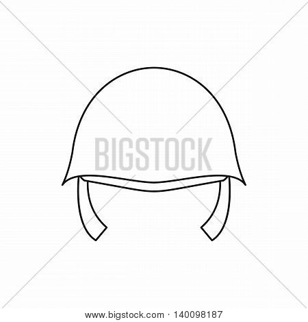 Military helmet icon in outline style on a white background