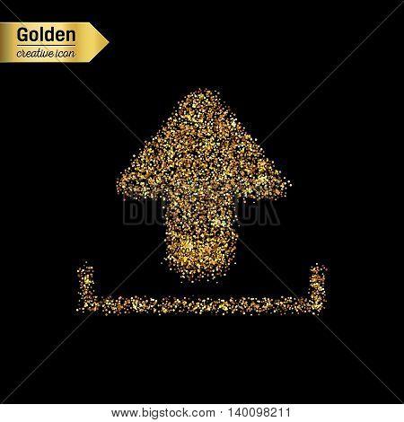Gold glitter vector icon of download isolated on background. Art creative concept illustration for web, glow light confetti, bright sequins, sparkle tinsel, abstract bling, shimmer dust, foil.