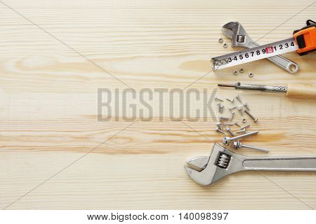 Presents for father on wooden background
