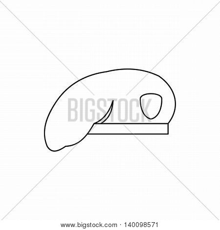 Military beret icon in outline style on a white background