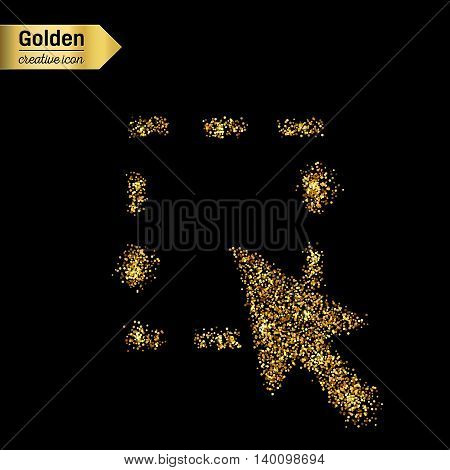 Gold glitter vector icon of mouse cursor isolated on background. Art creative concept illustration for web, glow light confetti, bright sequins, sparkle tinsel, abstract bling, shimmer dust, foil.