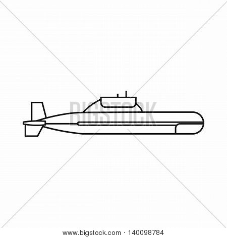 Submarine icon in outline style on a white background