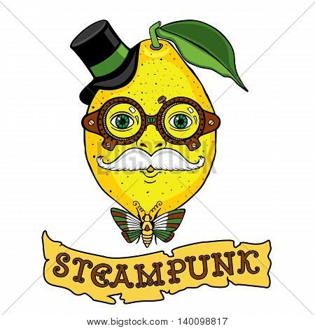 Mr Lemon drawing in the style of steampunk. It can be used as logo, illustration for your business image for t-shirts and other apparel.