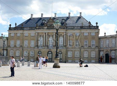 COPENHAGEN, DENMARK - JULY 13, 2016: Amalienborg Palace home of the Danish Royal family, Copenhagen, Denmark