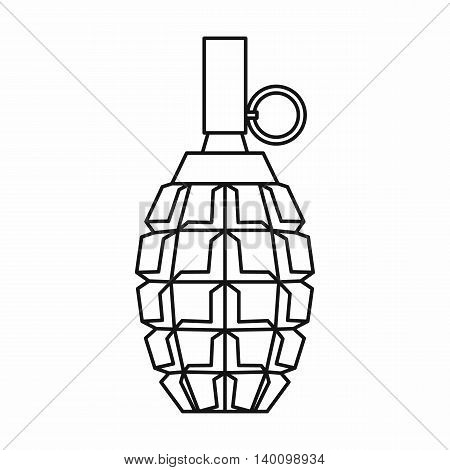 Grenade icon in outline style on a white background