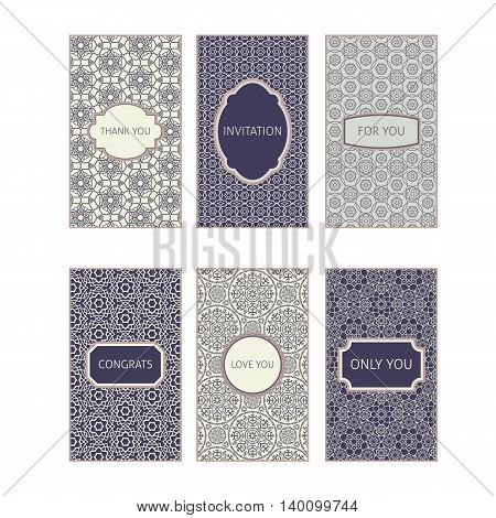Card collection with romantic phrases decorated ornament. Vector illustration