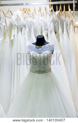 Wedding dress on mannequin in the shop