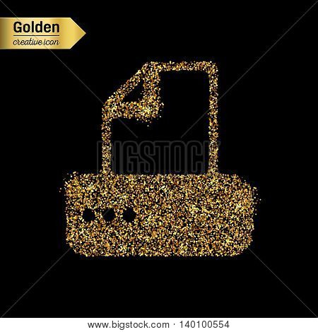 Gold glitter vector icon of fax machine isolated on background. Art creative concept illustration for web, glow light confetti, bright sequins, sparkle tinsel, abstract bling, shimmer dust, foil.