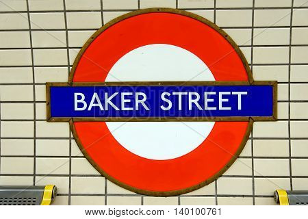 LONDON UK - JULY 1 2014: Underground station sign Baker street. Baker Street station was opened by the MR on 10 January 1863.
