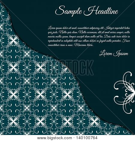 Vector invitation card with papercut effect. Concept in dark blue color with white text. Template with ornamental background. Card template for various use (birthday wedding party etc.).