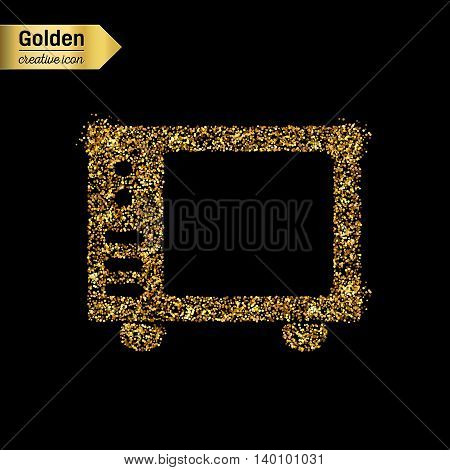 Gold glitter vector icon of microwave isolated on background. Art creative concept illustration for web, glow light confetti, bright sequins, sparkle tinsel, abstract bling, shimmer dust, foil.