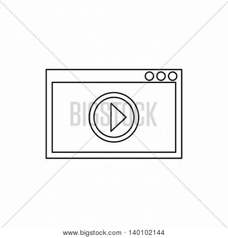 Video movie media player icon in outline style on a white background