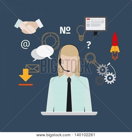 Call center with girl flat style banner. Vector illustration