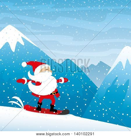 Santa Claus riding on a snowboard in the mountains.