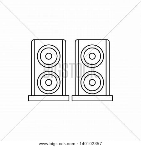 Two audio speakers icon in outline style on a white background