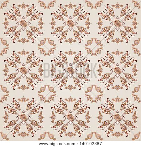 Seamless floral pattern with ornate elements in brown and rose pink shades