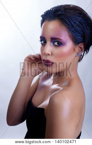 Beauty portrait of beautiful woma, in studio