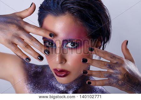 Beauty portrait of beautiful woman. cosmic girl
