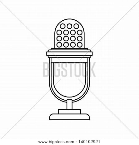 Retro microphone icon in outline style on a white background
