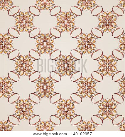 Seamless pattern with woven floral elements. Illustration in rose pink and brown shades