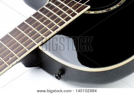 Fingerboard of Contemporary Black Acoustic Guitar Cross Section on White background