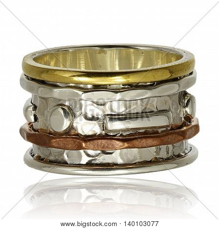 Copper and silver ring on a white background