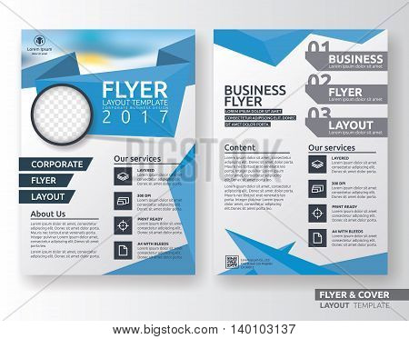 Multipurpose corporate business flyer layout design. Suitable for flyer brochure book cover and annual report. blue and white color in A4 size template background with bleeds. Vector illustration