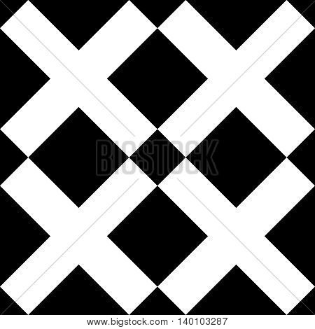 Tile black and white x cross vector pattern