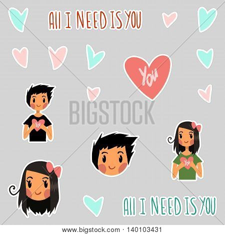 Vector Greeting card for Valentine's Day, wedding, games. With cute teen girl, boy and hearts. With love.