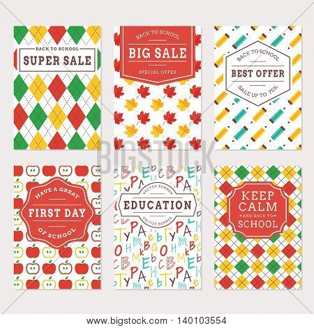Back to school banners. Colorful templates for sale labels education flyer and holiday cards. Vector set.